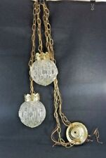 Vtg Double Hanging Swag Lamp Unusual Glass Globes  Light Fixture retro MCM
