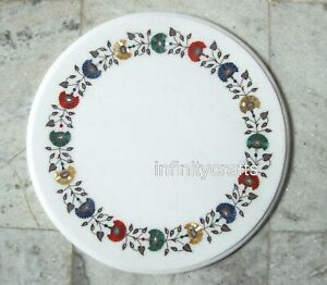Round White Marble Sofa Table Top Gemstones Inlay Work Coffee Table 21 Inches