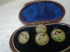 Fine quality antique CRICKET PLAYER lithograph buttons with original case  LOOK
