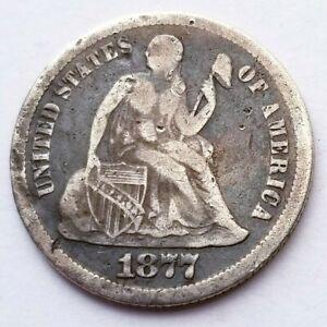 1877 CC SEATED LIBERTY DIME BEAUTIFUL VERY FINE ORIGINAL COIN NICE!