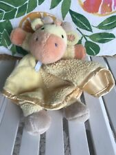 Carters Os Yellow Orange Giraffe Tan Feet Security Blanket Lovey Rattle Satin