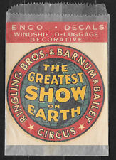 Vintage 1950's  ENCO Ringling Bros.& Barnum and Bailey Decal in Original Pack
