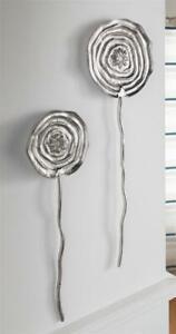 """2er Set Wand Deko """"Blume"""" Metall Bild aus Alu, silber, moderner Schmuck Hänger"""