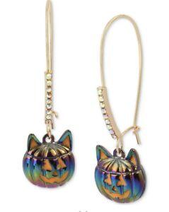 """$28 Betsey Johnson Cat Jack O Lantern 2"""" Linear Drop Earrings Q4"""
