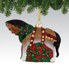 Christmas Clydesdale Glass Painted Pony Ornament