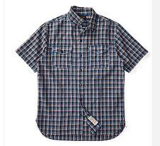RRL Ralph Lauren Heavily Laundered Indigo Yarn Woven Cotton Plaid Shirt- MEN- L
