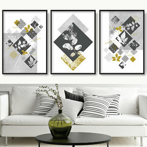 SET of 3 ABSTRACT Dark Grey Yellow GEOMETRIC Texture Botanical Art Prints ONLY