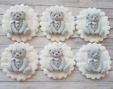 6 grey baby teddy discs, christening, cupcake toppers baby shower twins