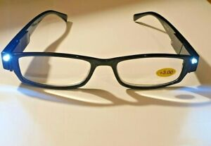 LED Reading Glasses With Lights - 3 Colours - All Strengths + Spare Batteries