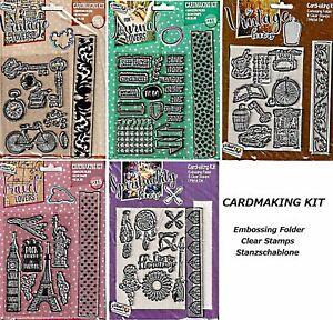 Cardmaking Kit mit Clear Stamps  Embossingfolder Stanzschablone - basteljulchen