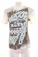 JUST CAVALLI Womens Graphic T-Shirt Top Size 18 XL White Cotton  CT18
