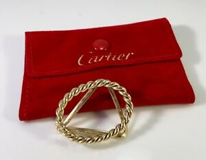 CARTIER 18K YELLOW GOLD ROPE DESIGN MONEY CLIP HEAVY AND HANDSOME W/POUCH
