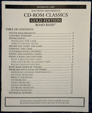 PC CD-ROM CLASSICS !!ROAD RASH!! Video Game GOLD EDITION Reference Card Only