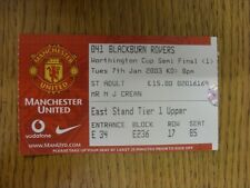 07/01/2003 Ticket: Football League Cup Semi-Final, Manchester United v Blackburn