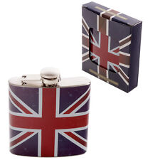 Union Jack Stainless Steel Hip Flask 6oz Great Racing Gift  Boxed Great Present