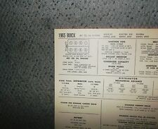 1965 Buick Wildcat, Electra & Riviera 401 CI V8 SUN Tune Up Chart Great Shape!
