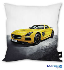 """PERSONALISED YELLOW SPORTS CAR DESIGN CUSHION BOYS GIFT 18"""" BEDROOM ACCESSORY"""