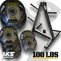 100 Pound Olympic Weight Plate Set & Storage Rack Home Gym Exercise Fitness New