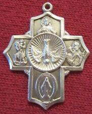 Vintage Catholic Religious Holy Medal - STERLING BLISS - SCAPULAR CROSS // DOVE