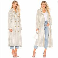 Free People Women's Ivory Sweet Melody Striped Duster Trench Coat Size S $198