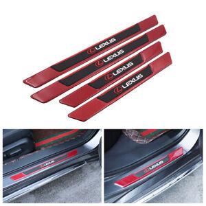 4PCS LEXUS Red Carbon Fiber Car Door Scuff Sill Cover Panel Step Protector