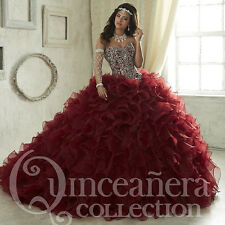 2017 Burgundy Dancer Quinceanera Dresses Luxury Beaded Prom Wedding Ball Gowns