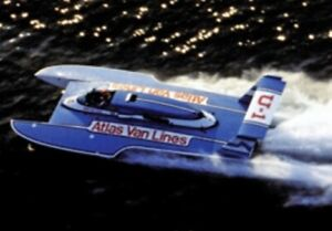 "36"" ATLAS VAN LINES BLUE BLASTER FIBERGLASS RC BOAT HULL HYDROPLANE KIT USA MADE"