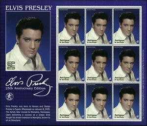 Antigua Scott #2584 Sheet of 9 with Label Mint Never Hinged  Elvis Presley
