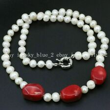 New 7-8mm White Natural Freshwater Cultured Pearl+Coral Necklace 18""