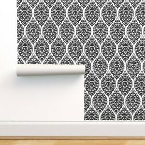 Removable Water-Activated Wallpaper Skull Damask Gothic Halloween Black White