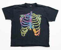 Quiksilver Shirt Men Size XL Skeleton Graphic T-Shirt Short Sleeve Black X-Large