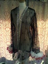 Drag Queen/Cabaret SHORT Black/silver glitter coat with Red/White feathers 18/20