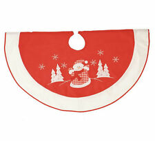 Snowman Design Felt Christmas Tree Skirt Xmas Festive Floor Decoration 100cm