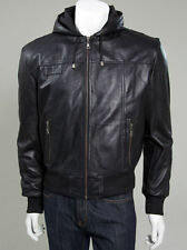 Zip Waist Length Leather Hooded Coats & Jackets for Men