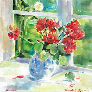 original painting 30,5 x 29,5 cm 472KO art modern watercolor flowers in vase