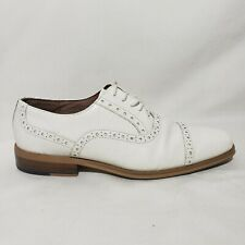 Vintage Giorgio Brutini Mens Alligator Style Saddle White Oxford Shoes Size 8