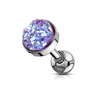 Druzy Stone Top Surgical Steel Helix Tragus Cartilage Daith Barbell Stud Earring