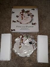 Fitz and Floyd snowman and reindeer canape plate. Nib