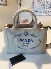 100% Original Prada Tasche Bag Pochette Umhängetasche Beige Dunkelblau NEU