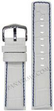22mm Hirsch 'Grand Duke' White Italian Leather Watch Band w Gator Print & Blue S