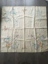 Hand Embroidered Small Vintage Linen Tablecloth UnFinished Craft Embroidery
