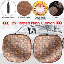 2x 12-24V Car Heated Seat Plush Cushion Cover Heating Thermal Warmer Pad  .'