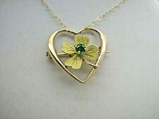 "Edwardian 10ct Gold Emerald Heart Shamrock Pendant Brooch Pin 16"" 9ct Gold Chain"