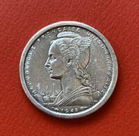 AFRIQUE EQUATORIALE FRANCAISE 1 Franc Bazor 1948 LEC 15 KM# 6, Schön# 6  SUP ++
