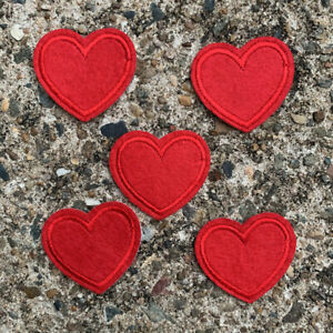 5pc Heart Red Embroidery Edged Felt Patch Cloth Iron On Applique Love  #1307