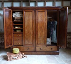 Extra Large Bespoke Victorian 4 door mahogany linen press wardrobe armoire