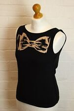 SONIA RYKIEL Paris Black Bow Tie Graphic Sleeveless Top - Size XS - Extra Small