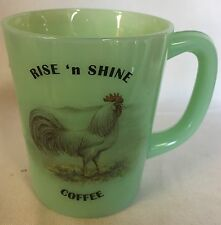 Rise n Shine Coffee Mug White Leghorn Rooster - Jade Jadeite Glass - Mosser USA