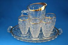 VINTAGE JEANETTE THUMBPRINT GOLD TRIM  PITCHER 4 GLASSES  CHRISTMAS TRAY c1950