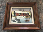 Framed H Hargrove Signed Oil Painting Snowing Covered Bridge Boat CERTIFIED